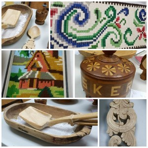 Examples of needle work and wood carving at April 2015 meeting